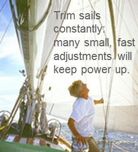 Keep power in your sails – make small, fast adjustments